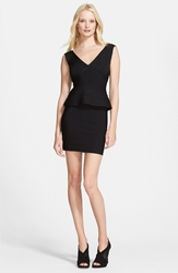 Herve Leger Sleeveless V Neck Peplum Dress Black