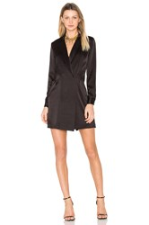 Halston Satin Shirt Dress Black