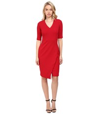 Maggy London Casablanca Crepe Sheath Dress With Elbow Sleeves Ribbon Red Women's Dress