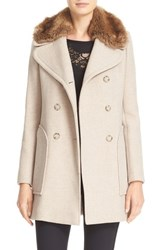 Rebecca Taylor Women's Wool Blend Peacoat With Faux Fur Collar