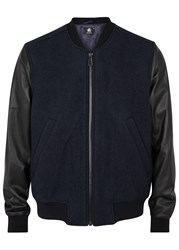 Paul Smith Two Tone Leather And Boucle Bomber Jacket Navy
