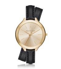 Michael Kors Slim Runway Gold Tone And Leather Wrap Watch