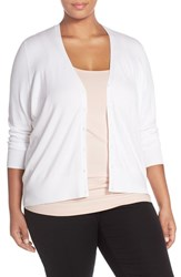 Sejour Plus Size Women's V Neck Cardigan White