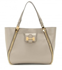 Tom Ford Sedgwick Medium Leather Tote Grey