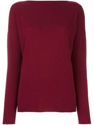 Incentive Cashmere Boat Neck Jumper Red