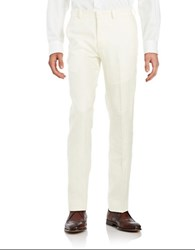 Black Brown Straight Leg Linen Pants Off White