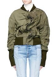 Ground Zero Floral Embroidered Satin Bomber Jacket Green