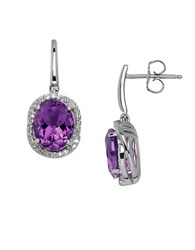 Lord And Taylor Amethyst Diamond Sterling Silver Drop Earrings Purple