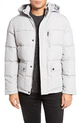 Kenneth Cole Men's New York Hooded Down And Feather Fill Jacket Platinum