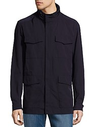 Giorgio Armani High Collar Water Repellant Jacket Navy