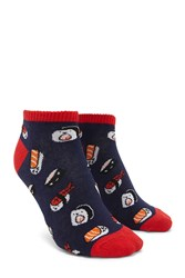 Forever 21 Sushi Ankle Socks Navy Multi