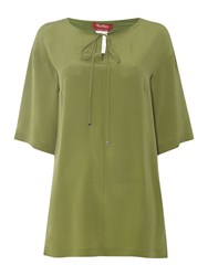 Max Mara Giuria Woven Short Sleeved Silk Tunic Sage Green