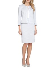 Tahari By Arthur S. Levine Embroidered Skirt Suit Set Light Grey