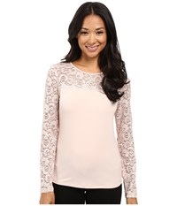 Calvin Klein Long Sleeve Top With Lace Yoke And Sleeve Blush Women's Long Sleeve Pullover Pink