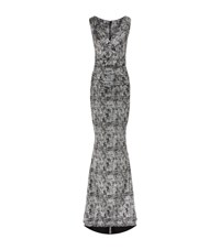 Talbot Runhof Metallic Spray Jersey Gown Female Silver