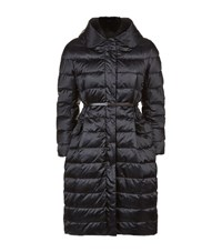Max Mara Maxmara Reversible Quilted Fox Fur Collar Coat Female Black