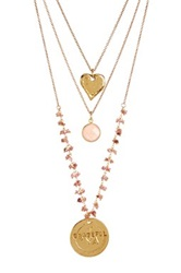 Alisa Michelle Triple Layer 'Grateful' Coin Heart And Opal Necklace Metallic