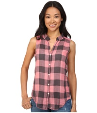 Dylan By True Grit Vintage Buffalo Check Sleeveless Blouse With Lace Pure Pink Women's Blouse Multi