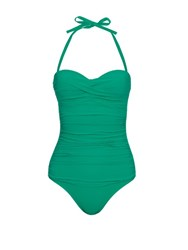 Heidi Klein Key West Ruched Bandeau Swimsuit Green