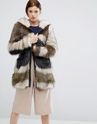 Urbancode Faux Fur Hooded Coat In Abstract Fur Green