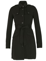 Izabel London Belted Button Up Trench Coat Black