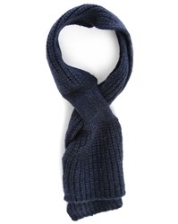 Melindagloss Navy Large Stitch Scarf With Loop
