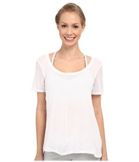 Alo Yoga Luxx Short Sleeve Top White Women's Short Sleeve Pullover