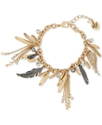 Betsey Johnson Two Tone Feather And Crystal Charm Bracelet Two Tone