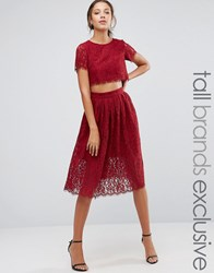True Decadence Tall 2 In 1 Allover Lace Full Prom Skater Dress Berry Red