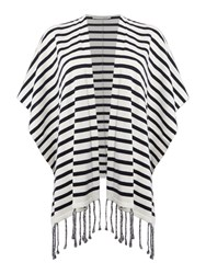 Oui Stripe Fringed Poncho Cardigan White And Navy White And Navy