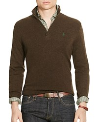 Polo Ralph Lauren Merino Wool Half Zip Sweater Brown Marl