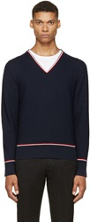 Thom Browne Navy Tricolor V Neck Sweater