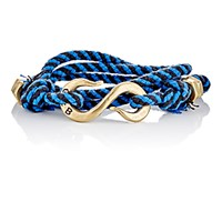Giles And Brother Men's Rope Wrap Bracelet With S Hook Blue