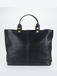 Reed Krakoff Geometric Cutout Leather Tote Black