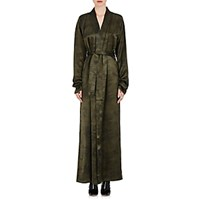 Unravel Project Srl Women's Camouflage Silk Belted Robe Coat Blue