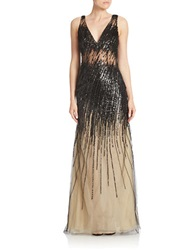 Basix Ii Sequined Mesh Gown Nude Black