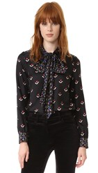 Marc Jacobs Button Up Shirt With Tie Black Multi