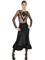 Francesco Scognamiglio Embroidered Sheer Stretch Tulle Top Black
