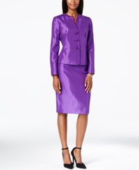 Le Suit Shantung Pleated Collar Jacket Skirt Suit Darkpurple