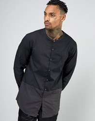 Aka Longline Shirt With Grandad Collar Black