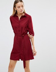 Ax Paris Tie Waist Shirt Dress Wine Red