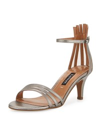Kay Unger Adella Leather Multi Strap Sandal Platinum White