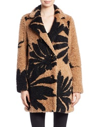 Essentiel Printed Faux Fur Coat Brown