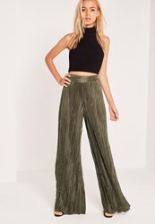 Missguided Crinkle Wide Leg Trouser Khaki Beige