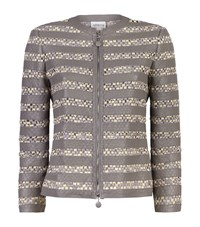 Armani Collezioni Crochet Stripe Leather Jacket Female Light Grey