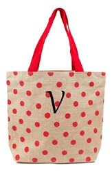 Cathy's Concepts Personalized Polka Dot Jute Tote Red Red V