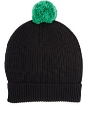 Barneys New York Men's Black Pom Pom Beanie Black