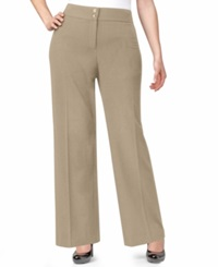Style And Co. Plus Size Solid Wide Leg Pants Sandstorm
