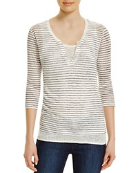 Majestic Stripe Linen Henley With Tank Lait Navy