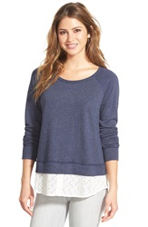 Caslon Lace Shirttail Hem Sweatshirt Heather Navy Ivory Colorblock